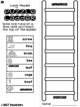 Puzzle Ladders: Long Vowels Level 1