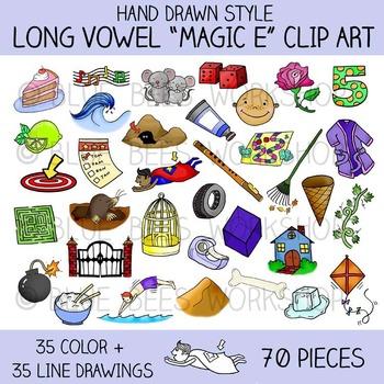 """Long Vowel Clip Art - 70 Pieces - Phonics """"Magic E"""" Clip Art"""