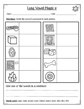 Long Vowel Silent e Mixed Practice Worksheets for Word Work {DIFFERENTIATED}