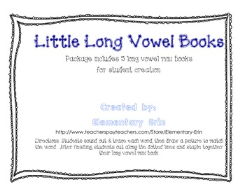 Long Vowel Mini Books for Student Creation (Reading Street