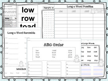Long Vowel O Pack! 2 Weeks of Lesson Plans, Activities, and Word Work!