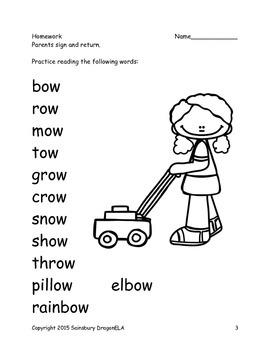 Long Vowel O Word Families Homework
