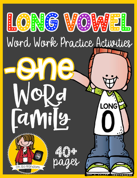 Long Vowel O Word Work {-one Word Family}