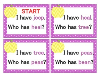 Long Vowel Pack I Have...Who Has...? Cards