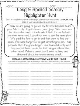 Long Vowel Pairs Highlighter Hunts