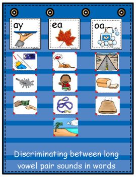 Long Vowel Pairs ~ Pocket Chart Sort with Matching Word Cards