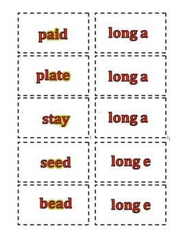Long Vowel Pattern Cards