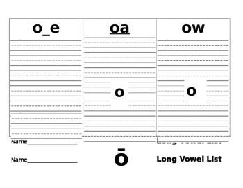 Long Vowel Pattern Recording Sheets