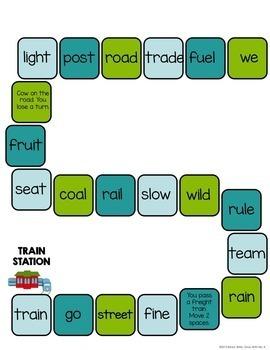 Long Vowel Patterns File Folder Game {Train Station Game}