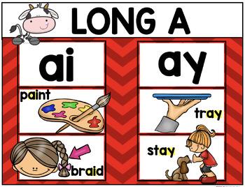 Digraph Long Vowel Posters Kindergarten and First Grade ELA