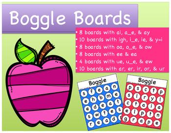 Word Work: Long Vowel Patterns & R-Controlled Vowels Boggle Boards