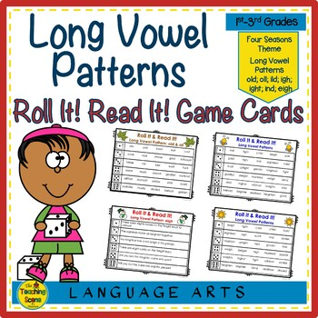 Long Vowel Patterns Roll It! Read It! Word & Sentences Game Cards