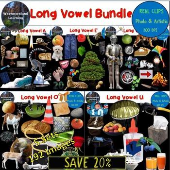 Long Vowel Phonics Clip Art Bundle 192 Photo & Artistic Digital Stickers