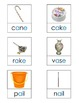 Long Vowel Picture Word Cards ~ 3-part Montessori cards