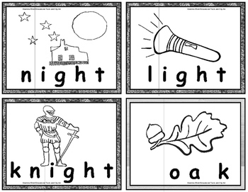 Long Vowel Picture Word Cards and Puzzles in BW only