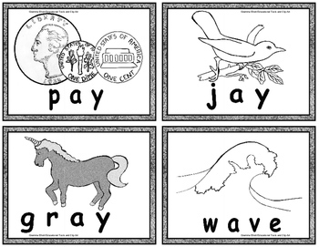 Long Vowel Vocabulary Word Cards for Puzzles, word rings, coloring in BW only