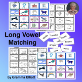 Long Vowel Lotto Match-up Words and Pictures CVCe and double vowels Color and BW