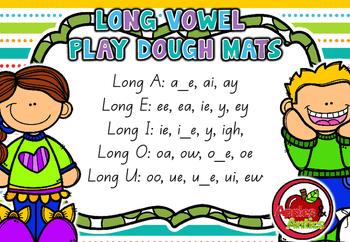 Long Vowel Play Dough Mats - Queensland font