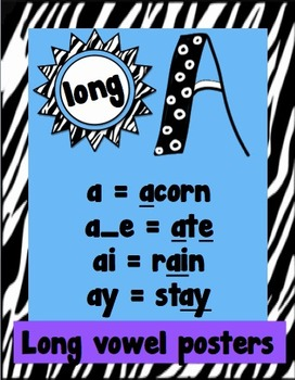 Long Vowel Posters - Zebra Themed