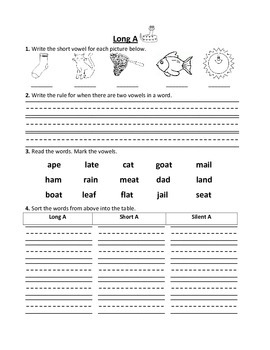 Long Vowel Practice Worksheets