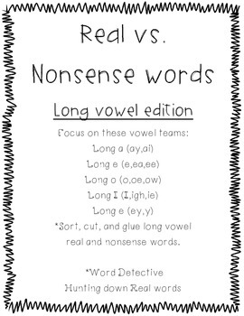 Long Vowel Real Or Nonsense Words By Lisa Bohaty Tpt