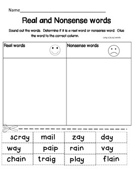 Long Vowel- Real or Nonsense Words