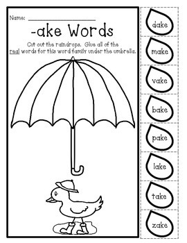 Free Sample - Long Vowel - Real or Nonsense Words - NO PREP Cut&Paste Printables