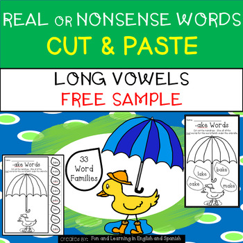 Free Sample - Long Vowel - Real or Nonsense Words - NO PRE