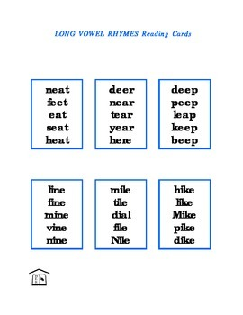 Long Vowel Rhymes Reading Cards & list