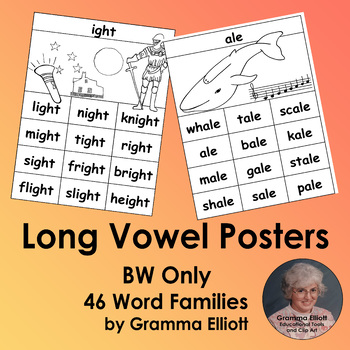 Long Vowel Rhyming Word Family Posters for 46 word families in BW Only
