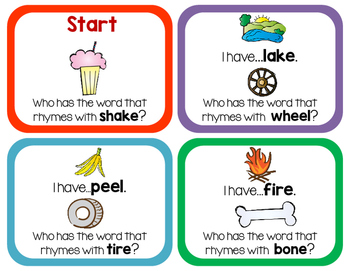 Long Vowel Rhyming Words - I Have, Who Has?