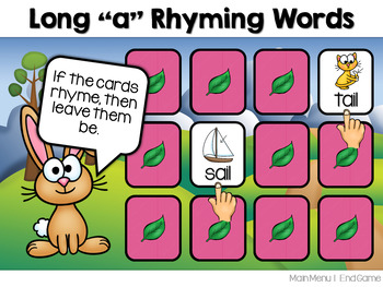 Long Vowel Rhyming Words Memory Match ~ Interactive PowerPoint Game