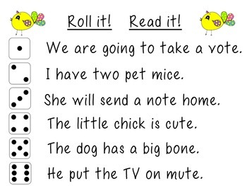 Long Vowel Roll and Read Sentences
