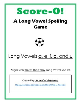 Long Vowel Score-O!  A soccer themed game with silent e words
