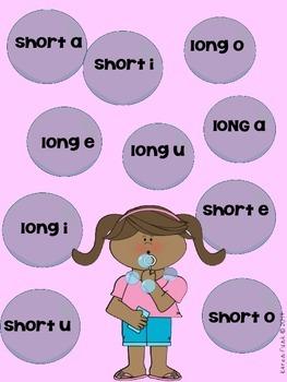 Long Vowel Short Vowel Partner Game and Sorting Acitivity