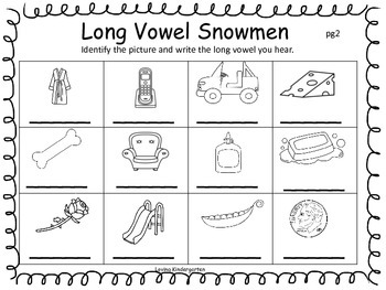 Long Vowel Short Vowel Snowmen
