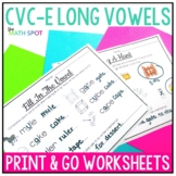 Long Vowel Silent E CVCe Worksheets { Print and Go }