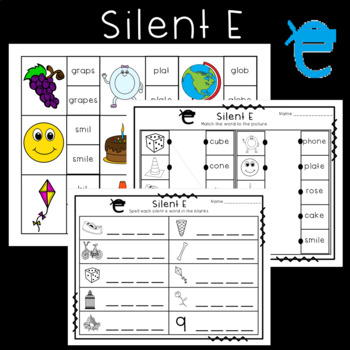 Long Vowel Silent E Maze and Worksheet