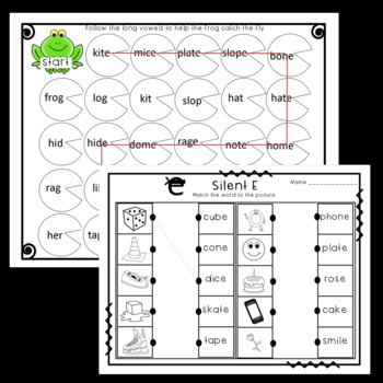 Long Vowel Silent E Maze, Worksheets, and Center Activity