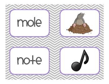 Long Vowel Silent E Picture Match - Long 'o' Set