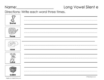 Long Vowel Silent E Worksheets by Why So Special | TpT
