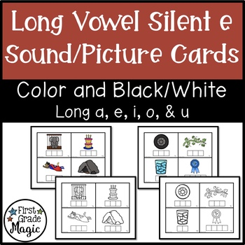 Long Vowel Silent e Picture Cards - Color and Black & White