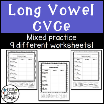 Long Vowel Silent e Practice Worksheets