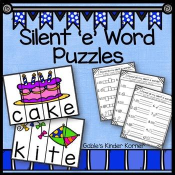 Long Vowel Silent 'e' Word Puzzles!