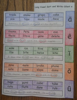 Long Vowel Sort and Write Silent-e