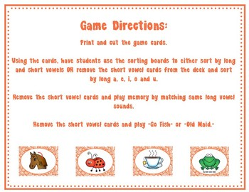 Long Vowel Sorting Cards (includes some short vowels)