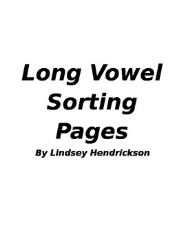 Long Vowel Sorting Pages