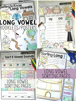 Long Vowel Sorting and Coloring Printables