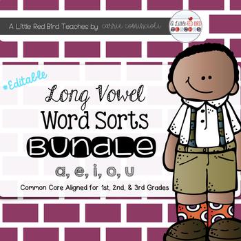 Long Vowel Sorts Bundle {Editable}