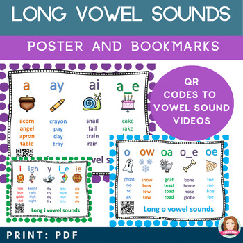 Long Vowel Sound Bookmark & Poster Bundle with QR Codes to Vowel Sound Stories